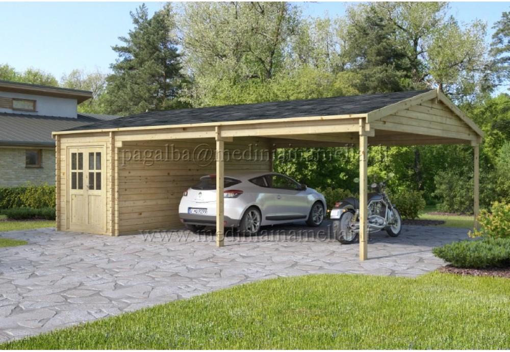 Medinis garažas 8x6m, 44mm su stogine