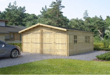 Dvigubas medinis garažas 6x6m, 44mm