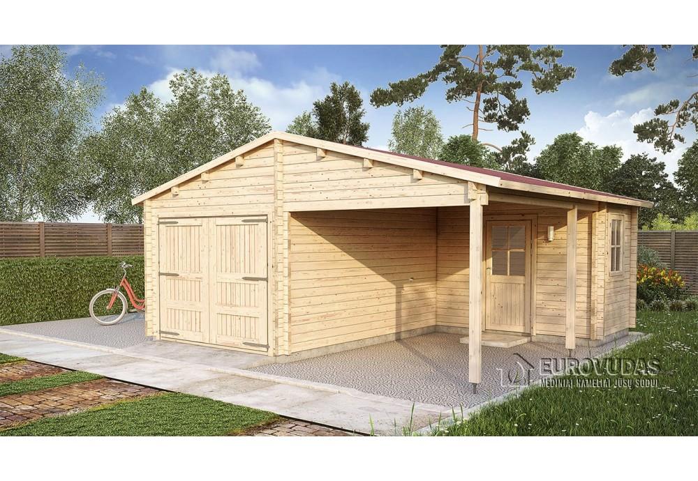 Medinis garažas 6x6m, 44mm su kambariuku