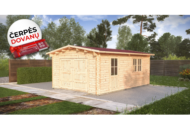 SANDĖLYJE! Medinis garažas 4x6m, 44 mm + DOVANA (STOGO DANGA)